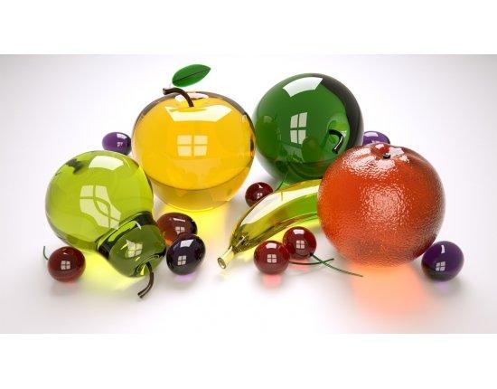 Скачать Обои фрукты стеклянные 1920x1080 px
