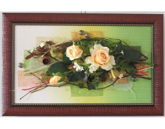Настенное панно своими руками из искусственных цветов