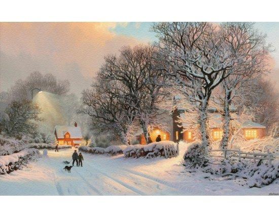 Скачать Обои деревня зимой 1024x640 px