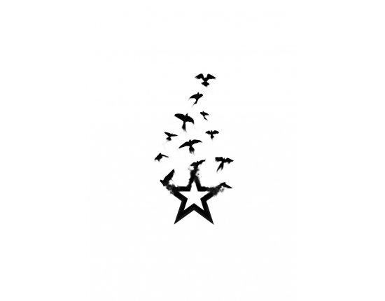 Скачать Тату стая птиц фото 900x1273 px