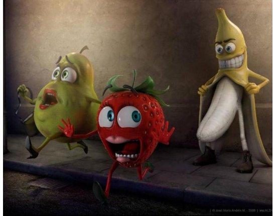 Скачать Картинки банан и клубника 1280x1024 px